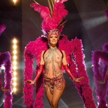 Spectacle Caprice, danseuse topless, plumes roses, Voulez-Vous